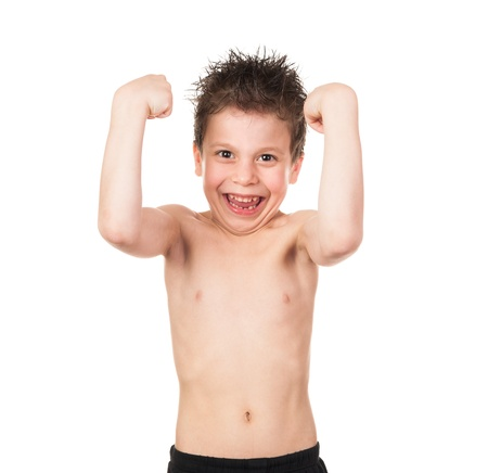 boy  naked: child with wet hair show muscles isolated