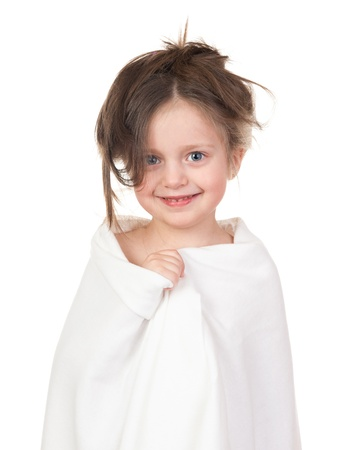 child in white towel isolated photo