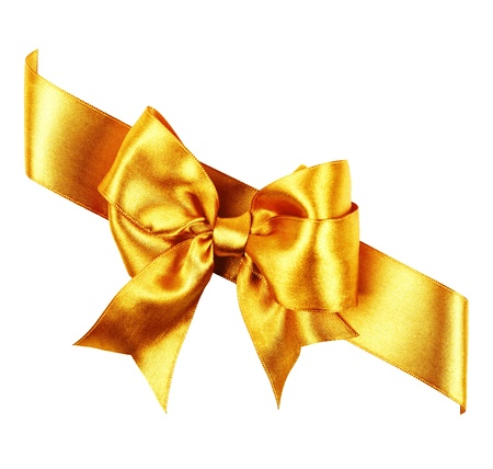 golden bow made from silk ribbon isolated photo