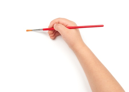 get in touch: brush for painting in child hand