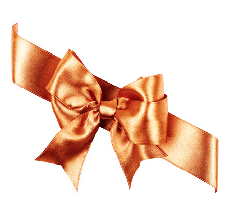 sienna bow made from silk ribbon isolated photo