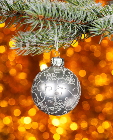 christmas ball on fir tree branch and golden bokeh background photo