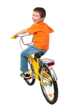 boy on bicycle isolated on white photo