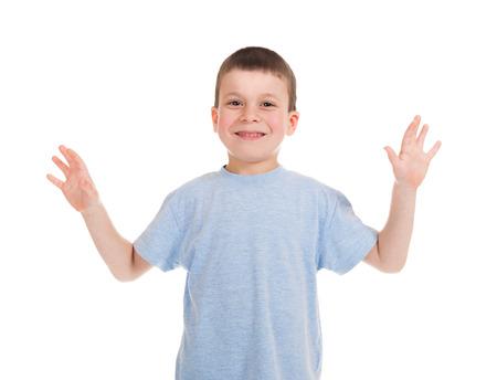 communicable: happy boy portrait on white