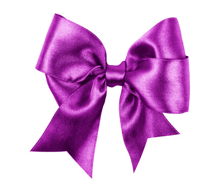 purple bow made from silk ribbon photo