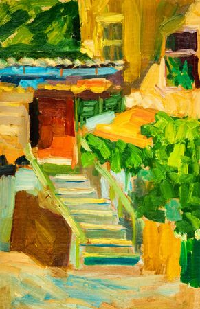 patio: Oil painting on canvas. Old city patio