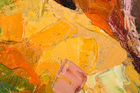 Abstract yellow oil painting on canvas. photo