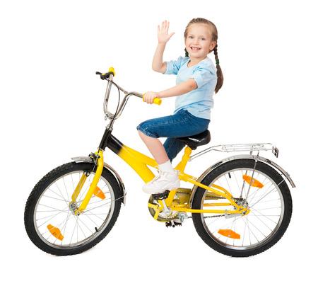 girl on bicycle isolated