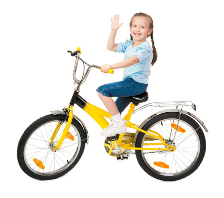 girl on bicycle isolated