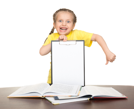 enrage: girl with clipboard and books on white