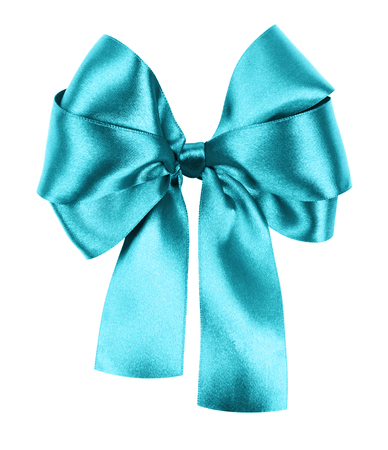 cyan bow made from silk ribbon photo