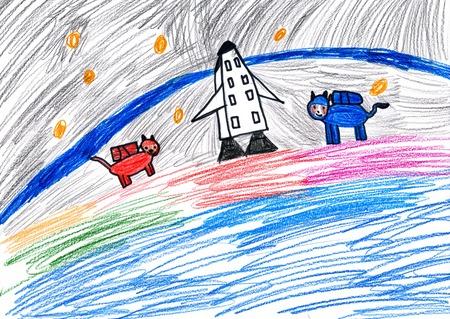 dog astronauts. child drawing.