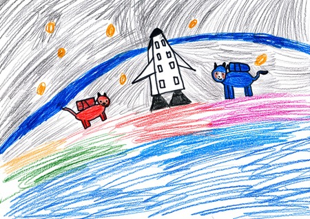 dog astronauts. child drawing. photo