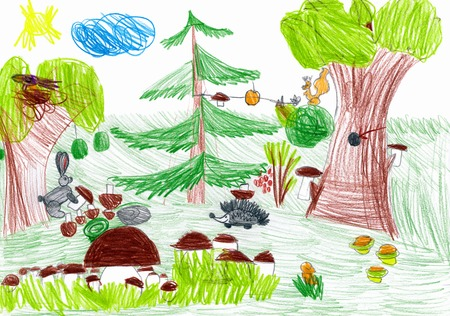 forest and wild animals. child drawing photo
