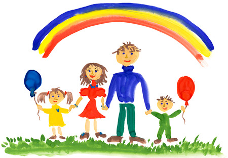 happy family. watercolor drawing photo