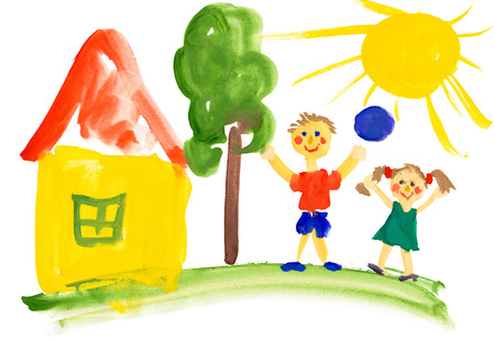 children playing near the house. watercolor drawing Stock Photo
