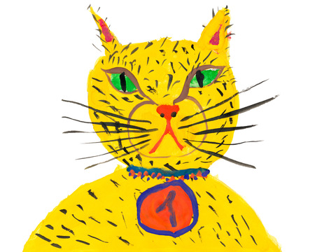 artful: cat champion. child drawing
