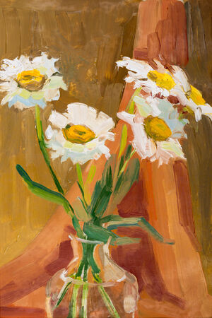 parget: camomile in vase painted oil on canvas. Stock Photo