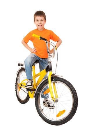 boy on bicycle isolated on white photo