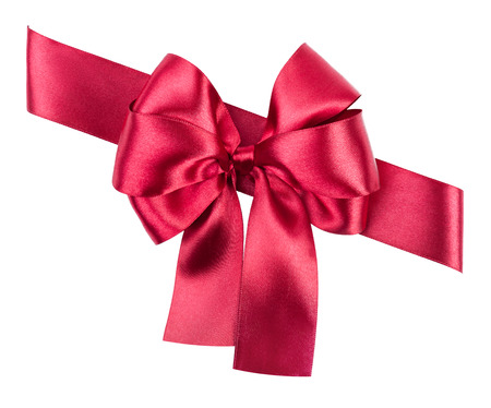 red silk bow and ribbon on white isolated photo