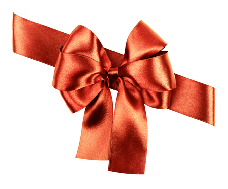 red brown bow made from silk ribbon isolated photo