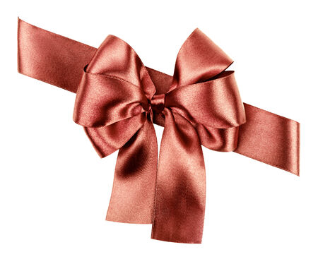 brown bow made from silk ribbon photo