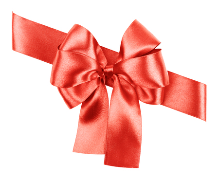 red bow made from silk ribbon isolated Stock Photo