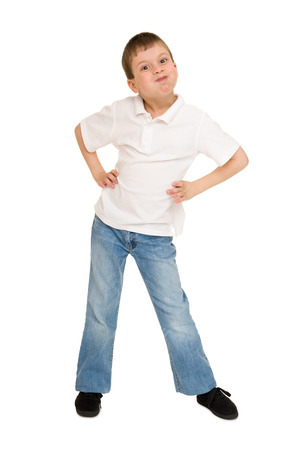 to inflate: boy inflate the cheeks on white Stock Photo