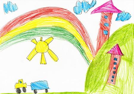 Haus im Dorf. Childs Zeichnung.