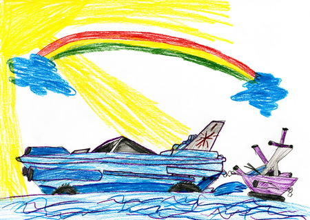 modern and sailing shp. child drawing photo