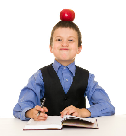 Boy in a business suit with diary photo
