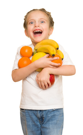 armful: little girl with armful fruits