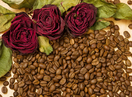 sear and yellow leaf: dry red roses on coffee seeds and wooden background