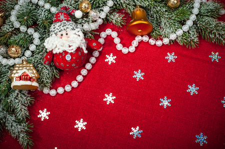Christmas background with decorations and toys photo