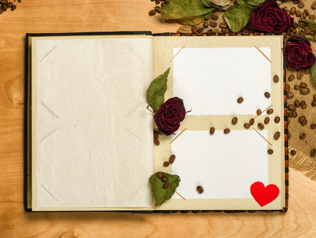 photo album and dry red roses on coffee seeds photo