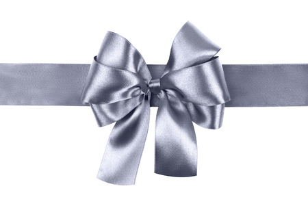 bow: grey blue bow photo made from silk