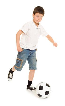 boy in shorts: soccer boy studio isolated on  white Stock Photo