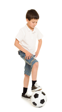 boy in shorts: soccer boy studio isolated on a white