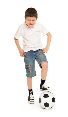 boy in shorts: soccer boy studio isolated on white
