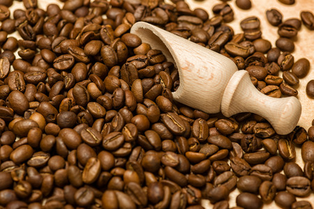 coffee seeds with wooden shovel on wood background photo