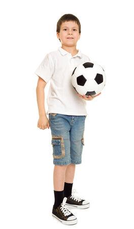 soccer boy studio isolated on white photo