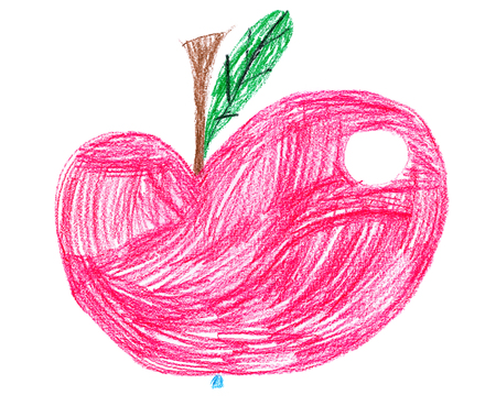 red apple. children pencil drawing Stock Photo - 34191394