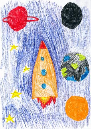 crayon drawing: space ship. children drawing.