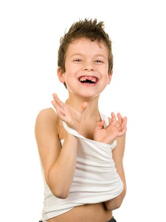 boy underwear: happy boy in underwear with wet hair