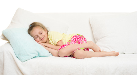 little girl in bed isolated photo