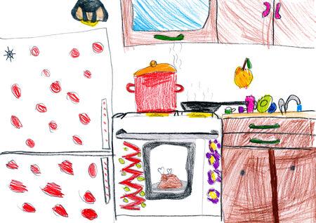 kitchen interior. children drawing. photo