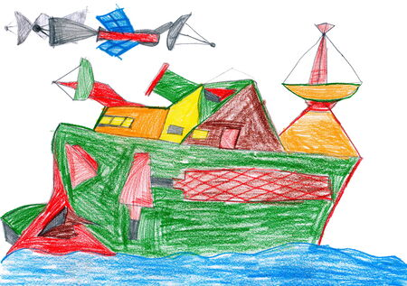 radio communication: space radio communication ship. child drawing.