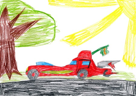 red car on a glade. children drawing photo