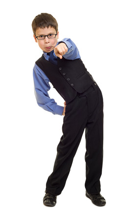 boy in suit on white photo