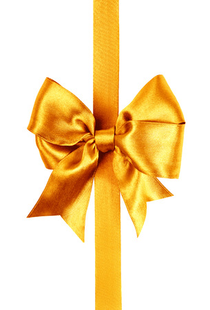 bow: golden bow photo made from silk isolated